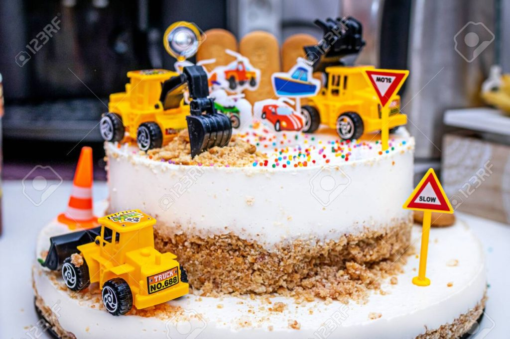 Kids Birthday cake boys cake with trucks and diggers